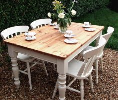 minimalist farmhouse dining table outdoor with chairs