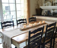 minimalist farmhouse dining table with wood black chairs