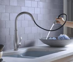 minimalist kohler kitchen faucets design with water hose