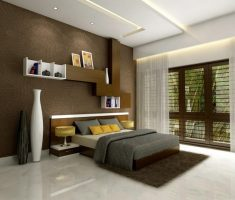 minimalist master bedrooms decoration with big white tiles florr