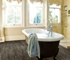 minimalist modern traditional bathroom designs with dark hardwood flooring