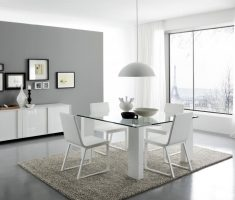 minimalist modern white dining table and 4 chairs