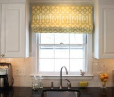 minimalist modern window treatments kitchen with roll sliding curtain