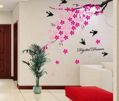 minimalist pink cherry blossom for removable wall decals inspirations