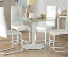 minimalist round glass white dining table and 4 perth chairs