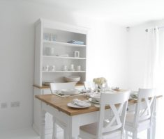 minimalist rustic white dining table and chairs