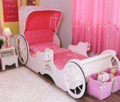 minimalist small carriage bed for disney princess bedroom