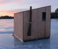 minimalist small ice fishing house shanty