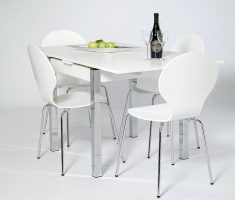 minimalist small white dining table and 4 chairs