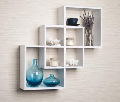 minimalist three level wall mount shelf design wooden white materials