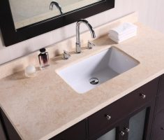 minimalist undermount bathroom sinks with marble island on dark vanity