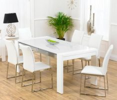 minimalist white dining table and 6 chairs