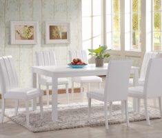 minimalist white dining table and chairs for small space