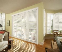 minimalist white window treatments for sliding glass doors