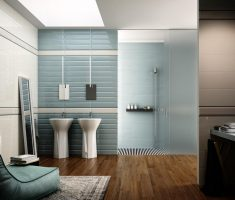 modern bathroom tiles with wooden flooring style