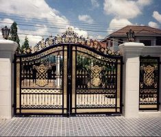 modern beauty front gate designs black and gold with pillar