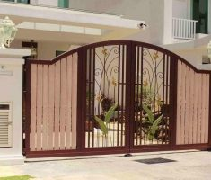 modern beauty front gate designs sliding option with pillars and outdoor lighting