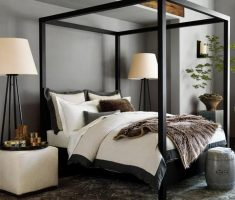 modern black canopy beds
