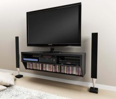 modern black wall mount shelf design for tv and cassete cds