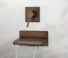 modern bronze bathroom wall faucets waterfall design