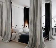 modern canopy beds with grey curtain