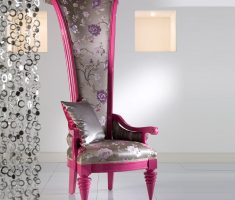 modern feminime pink high back chair with floral decoration