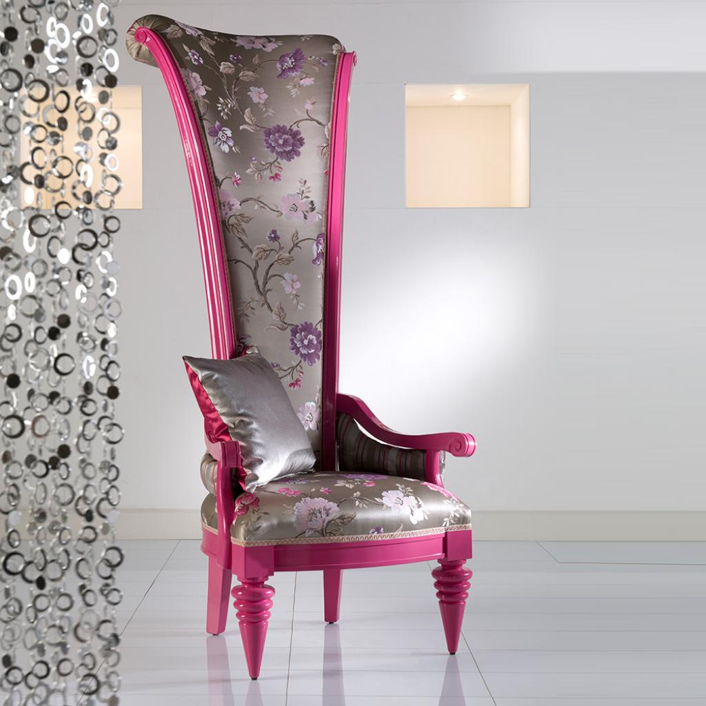 modern-feminime-pink-high-back-chair-with-floral-decoration