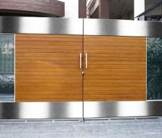 modern front gate designs with wood and chrome metal material for modern front house
