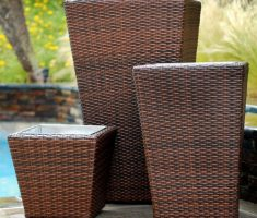 modern garden pots with rattan design