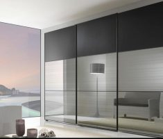 modern glass sliding closet doors with black and chrome style