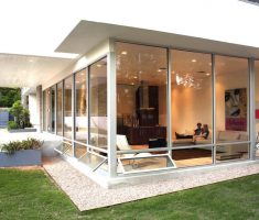 modern glass window treatments for modern exterior