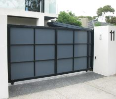 modern grey black front gate designs with wall fence sliding