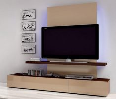 modern hanging wall mount shelf design for tv and book
