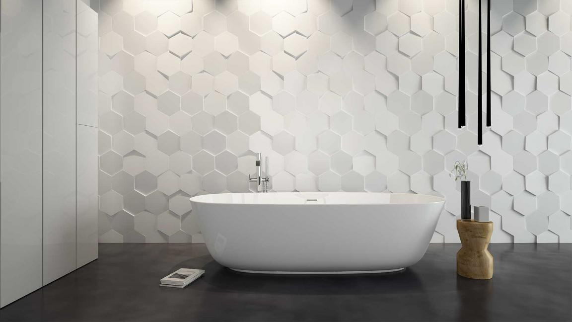 Modern Hexagon Bathroom Tiles Design For Minimalist Baht Decor