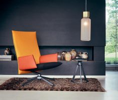 modern high back chair orange and black colors