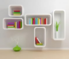 modern lux white wall mount shelf design