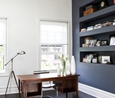 modern metal floor light shade designs for home office with gold chandelier on dark grey room
