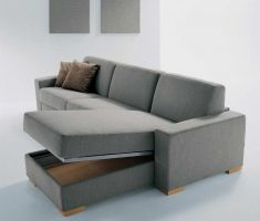 modern minimalist grey small sofa bed with storage and sleeper