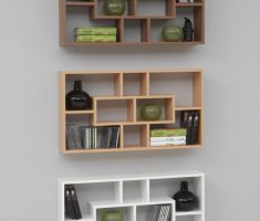 modern minimalist wall mount shelf design with three style colours