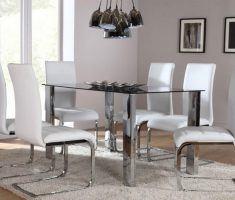 modern orion chrome dining table and 6 white perth chairs