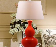 modern red table lamps for living room like pumpkin bottle