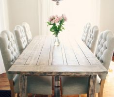 modern rustic farmhouse dining table with tufted chair