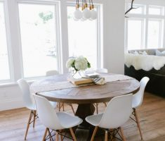 modern small farmhouse dining table round shape with chairs