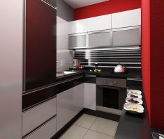 modern small kitchen apartment back and whtie