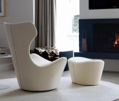modern soft white high back chair with ottoman