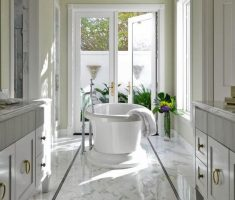 modern traditional bathroom designs with marble tiles