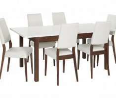modern traditional wooden white dining table and 6 chairs