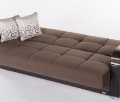 modern tufted brown small sofa bed with storage