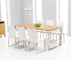 modern white dining table and 6 chairs with wooden table