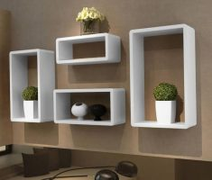 modern white wall mount shelf design